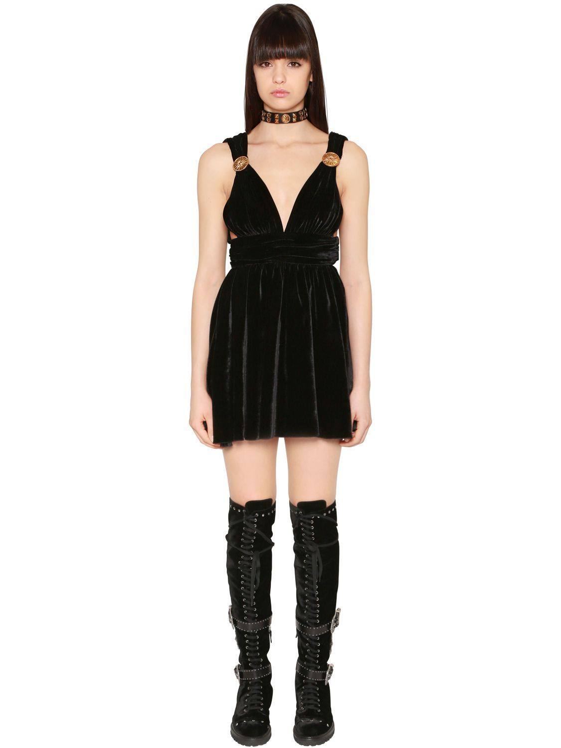 Fausto Puglisi Flared Studded Velvet Mini Dress on oscar de la renta men shoes