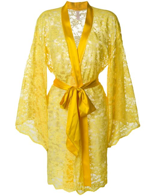 Dolci Follie Women S Yellow Lace Embroidered Dressing Gown 12525230